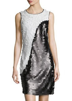 Marc New York by Andrew Marc Two-Tone Allover Sequin Dress, Black/White