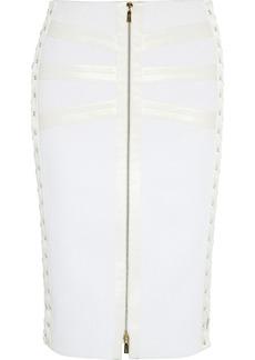 Jason Wu Satin-trimmed bouclé lace-up skirt