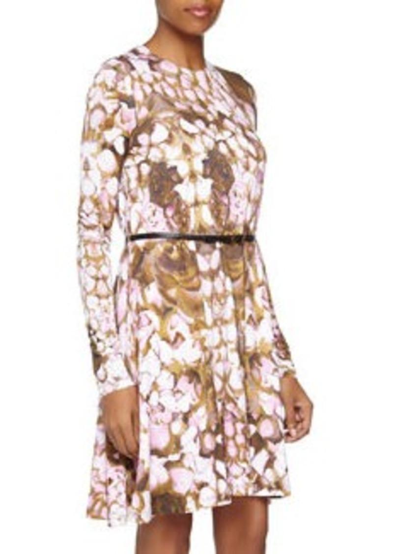 mcq alexander mcqueen mcq alexander mcqueen long sleeve floral print jersey dress pink brown. Black Bedroom Furniture Sets. Home Design Ideas
