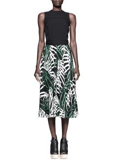 Proenza Schouler Printed/Solid Silk Dress