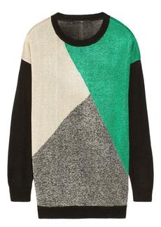 Tibi Intarsia metallic knitted sweater