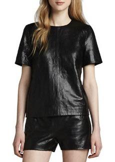 J Brand Ready to Wear Marilena Snake-Print Leather Tee
