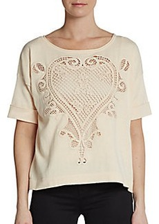 French Connection Charis Short-Sleeve Crochet Top