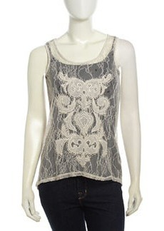 Design History High-Low Lace-Front Combo Tank, Heather Gray