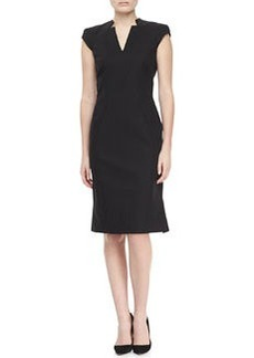 Zac Posen Cap Sleeve V-Neck Day Dress, Black