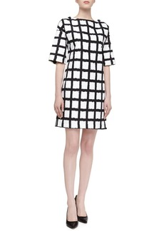 Michael Kors Windowpane Checked Boxy Dress, Black/Optic White