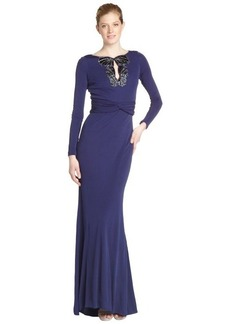 Badgley Mischka sapphire stretch beaded detail long sleeve gown