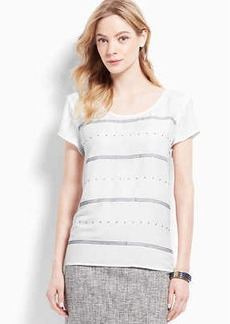 Embellished Stripe Crepe Top