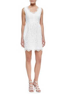 Shoshanna Sierra Scallop-Trim Lace Dress
