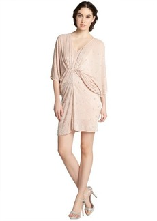 A.B.S. by Allen Schwartz blush tube bead chiffon draped batwing dress
