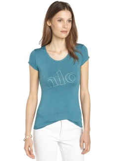 blue stretch cotton scoop neck 'Chloe' t-shirt