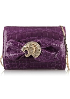 Valentino Embellished glossed-alligator shoulder bag
