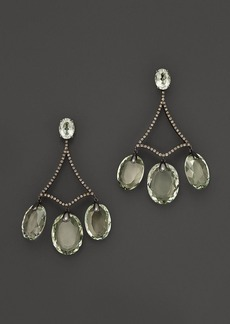 Badgley Mischka Green Amethyst With Brown Diamond Drop Earrings