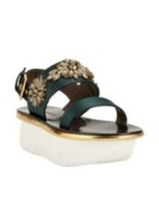 Marni Jeweled Satin Platform Sandal