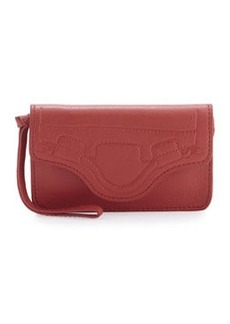 Foley + Corinna Handle-Embossed Phone Wristlet, Poppy