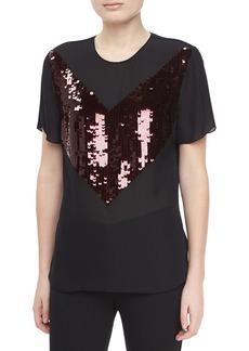Jason Wu Short-Sleeve Jersey Sequin T-Shirt, Ruby/Black
