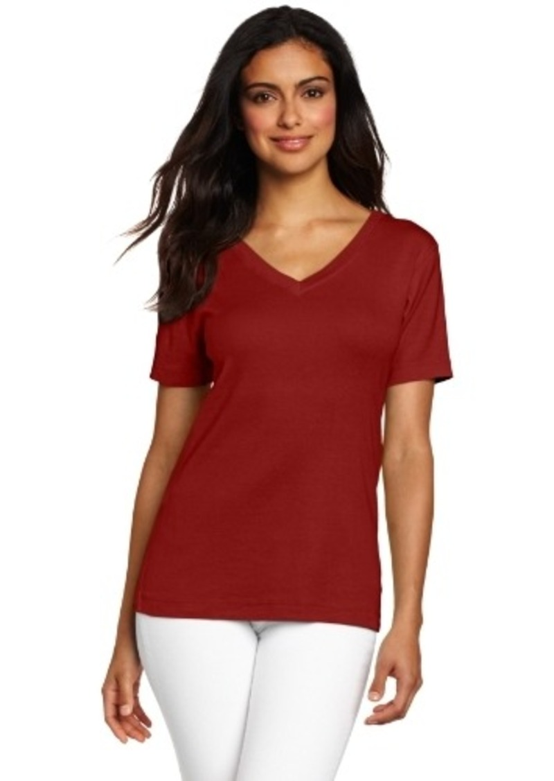 Three dots three dots red womens mid v neck tee tees for Three dots t shirts