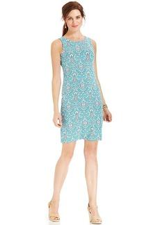 Charter Club Petite Sleeveless Scarf-Print Shift Dress