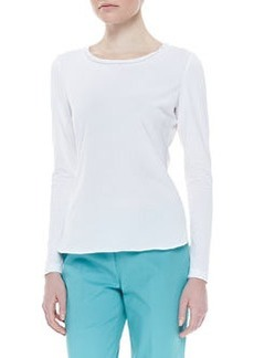 Lafayette 148 New York Beaded Silk-Detail Long-Sleeve Tee, White