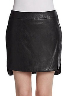 Saks Fifth Avenue RED Hi-Lo Faux Leather Skirt