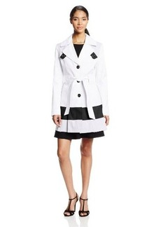 Via Spiga Women's Single-Breasted Trench Coat with Color-Block Hem