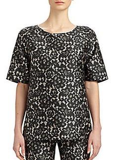 Michael Kors Wool & Silk Shantung Lace-Print Top