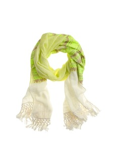 Neon embroidered fringe scarf