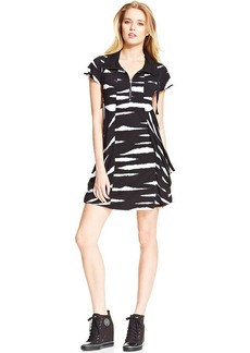 Kensie Animal-Print Striped French Terry Dress