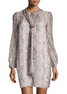 Diane von Furstenberg Bishop-Sleeve Airy Voile Dress, Python Gray