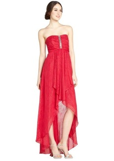 Laundry by Shelli Segal red lurex stripe stretch chiffon strapless gown