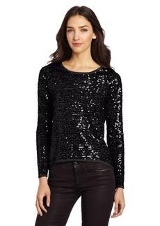 Design History Women's Allover Sequins Hi Lo Sweater