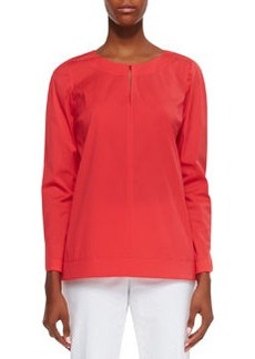 Lafayette 148 New York Poplin Bracelet-Sleeve Top
