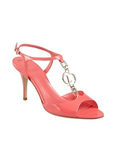 Christian Dior petal pink patent leather logo charmed t-strap sandals