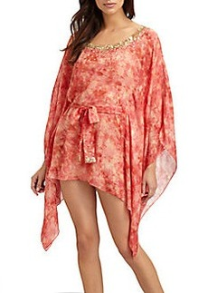 Natori Embroidered Short Silk Caftan