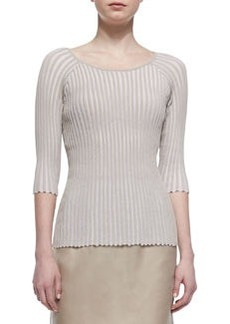 Lafayette 148 New York Pleated Stripe 3/4-Sleeve Sweater, Khaki