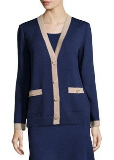 St. John V-Neck Contrast-Trim Cardigan, Ink/Bisque