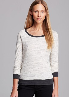 Three Dots Contrast Sweater with Pleated Back Detail