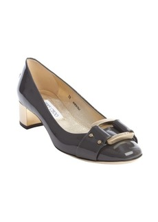 Jimmy Choo grey patent leather 'Moore' gold block heel pumps