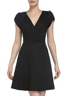 Laundry by Shelli Segal Short Sleeve Fit-and-Flare Poplin Dress, Black