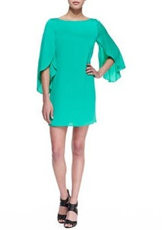 Butterfly-Sleeve Short Shift Dress, Jade   Butterfly-Sleeve Short Shift Dress, Jade