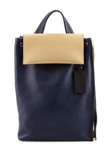 Bicolor Leather Shoulder Bag, Navy/Cream   Bicolor Leather Shoulder Bag, Navy/Cream