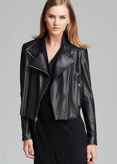 DKNY Asymmetric Zip Leather Jacket