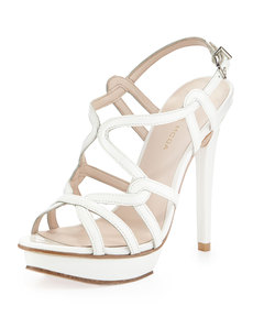Pelle Moda Flirty Patent Leather Sandal, White