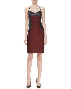 JASON WU Leather/Tweed Halter Sheath Dress