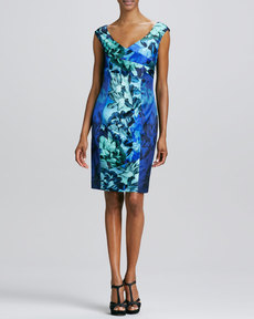 Kay Unger New York V-Neck Floral-Printed Cocktail Dress