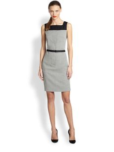 Akris Punto Mini Check Wool Sheath Dress