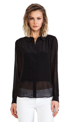 Joie Savory Silk Mercina Blouse in Black