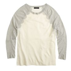 Merino baseball sweater in scallop intarsia