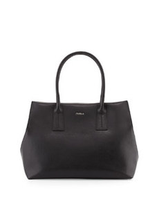 Furla Paper Moon Saffiano Pleated Tote Bag, Onyx