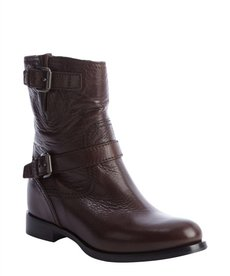 Prada brown leather buckle boots